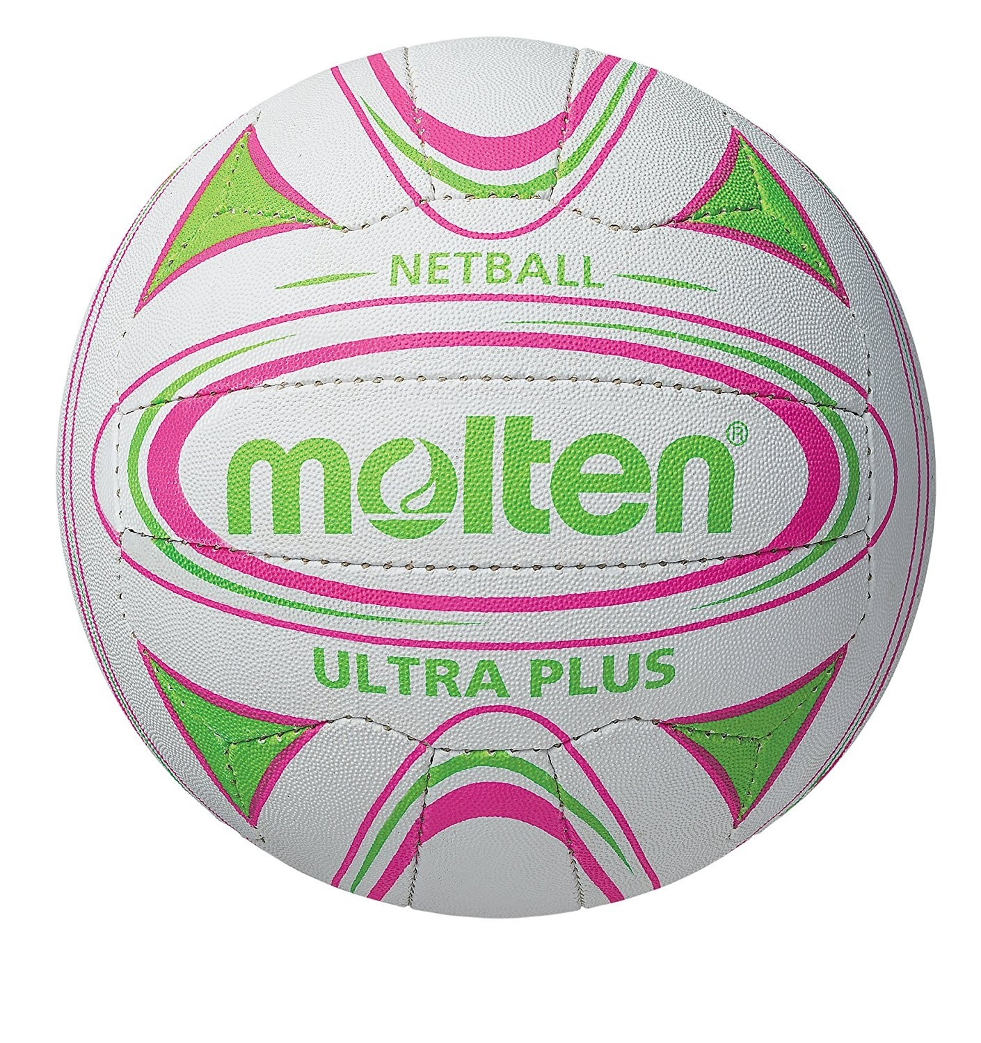 2018 Molten Ultra Plus Club Match Netball - White/Green/Pink